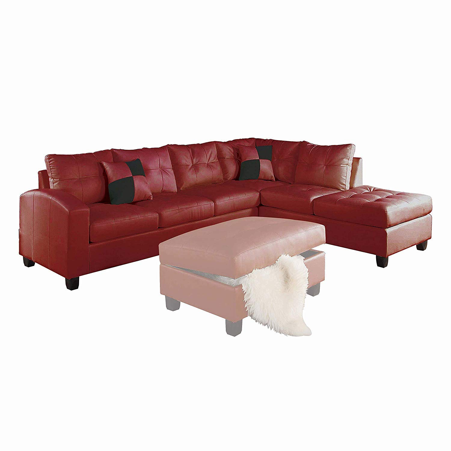 amazon com acme kiva red bonded leather reversible sectional sofa rh amazon com Bonded Leather Sofa Repair Red Bonded Leather Sofa