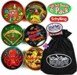 Schylling Classic Tin BB Puzzle Games Complete Gift Set Bundle with Exclusive Matty's Toy Stop Storage Bag - 6 Pack