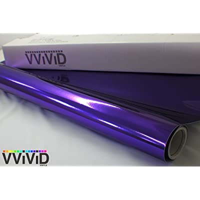VViViD Purple Chrome Wrap Vinyl with Air-Free Channels and Ready to Use Adhesive DIY (1ft x 5ft): Automotive