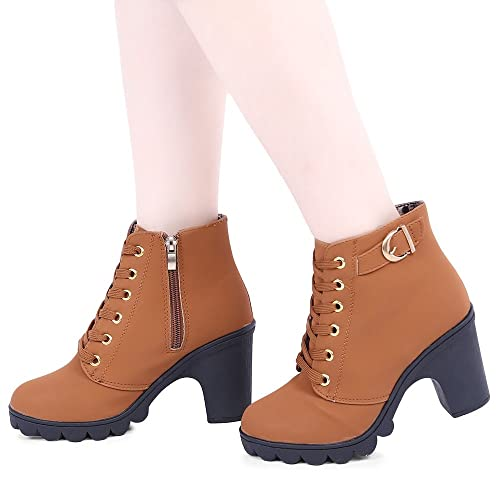 59f096742f8ea Hannea Pure Colour Women s Lace up Zipper Decoration Orange Leather Thick  High Heel Ankle Boots -