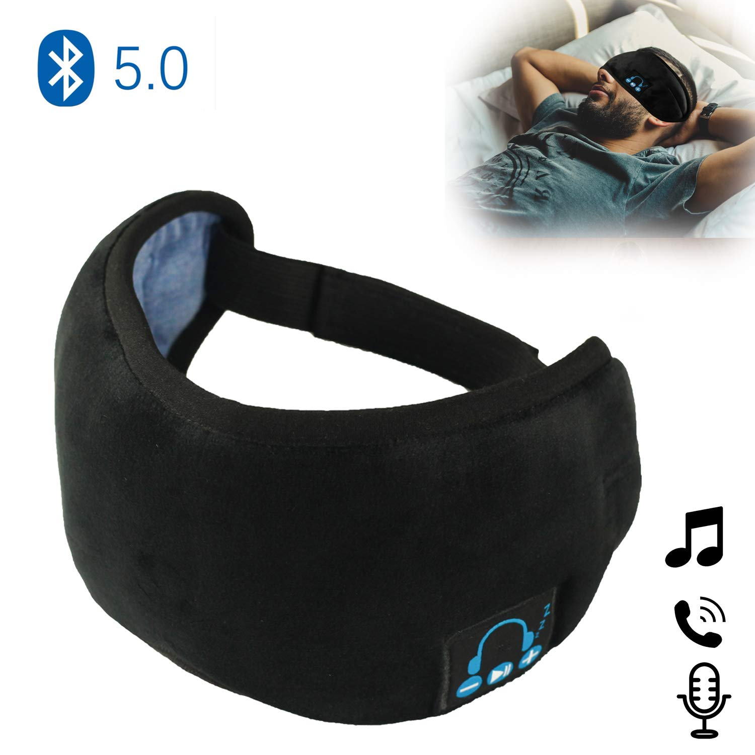 Sleep Headphones, Upgraded Eye Masks Bluetooth 5.0 Wireless Music Travel Sleeping Headset Built-in Speakers Microphone Handsfree