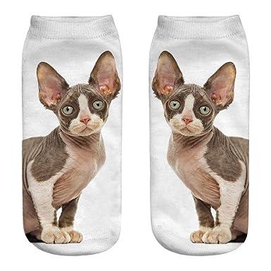 Calcetines Mujer Termicos Algodon Suave Lindo Casual Impresión 3d Gato Medias Calcetines de Dibujos Animados Calcetines deportivos para Mujer Pila de ...