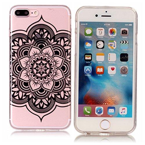 Funda iPhone 7 Plus/iPhone 8 Plus, Apple iPhone 7 Plus/iPhone 8 Plus Funda Silicona Transparente, EUWLY Alta Calidad Suave Crystal Clear Silicona Funda Caso Ultra Delgado Ligero Transparente Flexible  Mandala negro