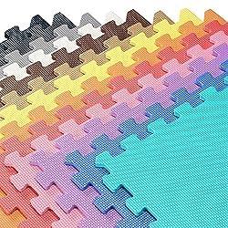 We Sell Mats Foam Interlocking Square Floor Tiles with Borders, (Each 2 x 2 Feet),   48 SQFT (12 Tiles + Borders) - Charcoal Gray