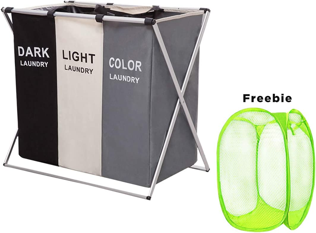 HUNTINGOOD Laundry Basket 3 Sections,Large Dirty Clothes Laundry Bag, Sorter for Bathroom, Foldable Laundry Hamper,Divided, Multicolor (with Light Green Gift)
