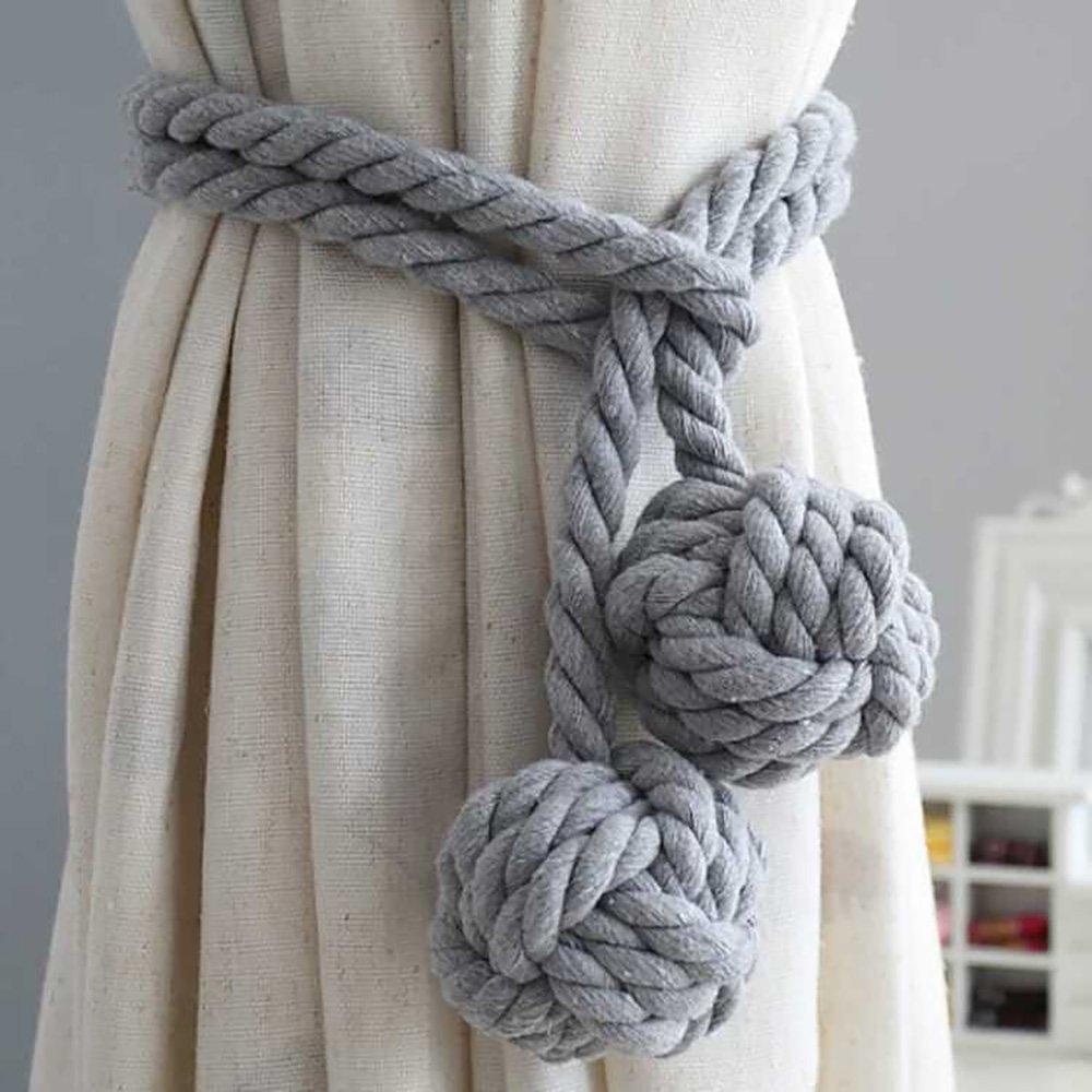 Zhi Jin 1paire Coton faite à la main Rideau Embrasse Embrasses Clip Pompon Window Corde double boule