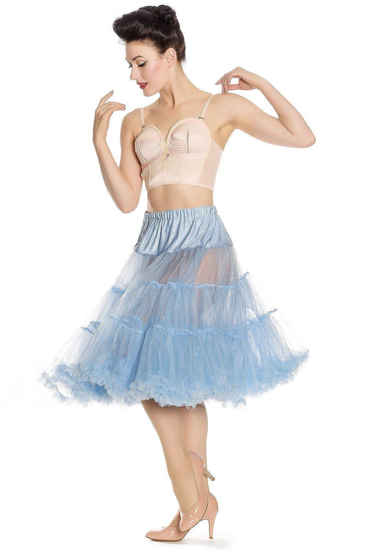 Hell Bunny 50s Falda Cielo Azul Petticoat Ao de Longitud 25 cm ...
