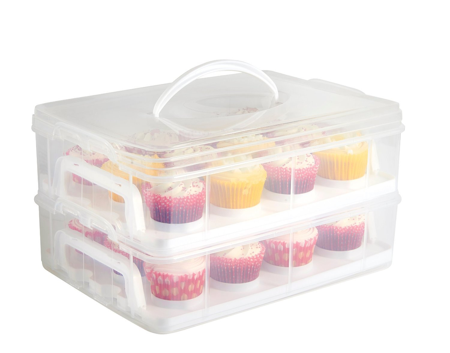Cupcake Storage and Courier. Great for Storage and Carrying Cupcakes, Cookies and Other Cake Dessert. 2 Layer Keeper