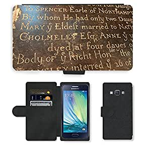 PU Cuir Flip Etui Portefeuille Coque Case Cover véritable Leather Housse Couvrir Couverture Fermeture Magnetique Silicone Support Carte Slots Protection Shell // M00154614 Fondo antiguo Negro Carta Vieja // Samsung Galaxy A3 SM-A300 (not fit S3)
