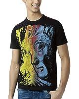 Huetrap Men's Buddha Multicolour Face Black T Shirt