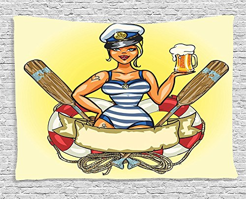 Supersoft Fleece Throw Blanket Girly Collection Pin-Up Sexy Sailor Girl in Lifebuoy with Captain Hat and Costume Glass of Beer Feminine Design (Sequin Sailor Costume Hat)