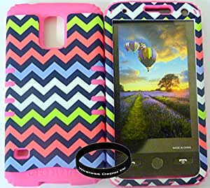 Hybrid Kickstand Protective Rocker KoolCase Cover for Samsung Galaxy S5 V Barbie Colorful Rainbow Chevron Pattern Hard Plastic Snap On with Pink Soft Silicone Gel (Includes Wireless Depot TM wristband)