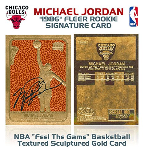 Gold Rookie Card (MICHAEL JORDAN 1986 Fleer ROOKIE Feel The Game Signature 23KT Gold Card)