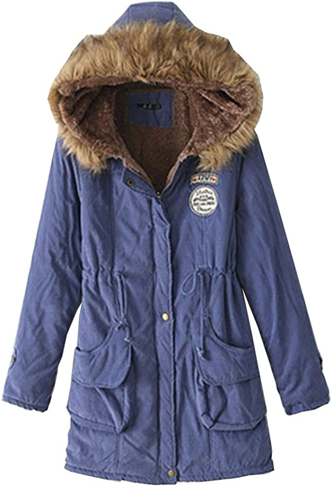 EMMA Womens Winter Warm Wool Blended Lined Down Jacket Classic Hooded Oversized Thick Faux Fur Collar Parka Coat Fleece Trench Overcoat