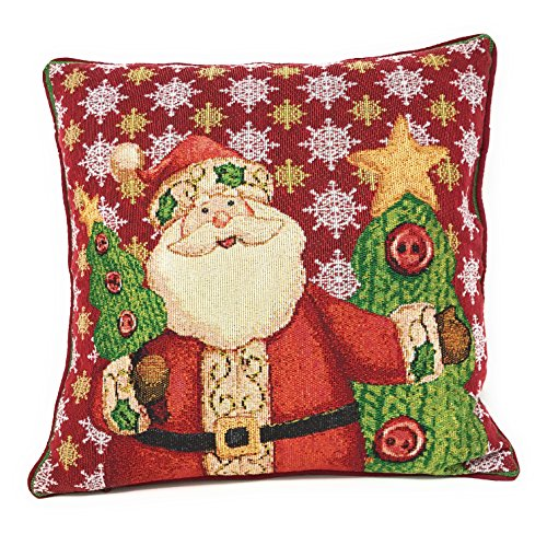 (Tache Christmas Eve Festive Winter Holiday Santa Claus is Coming to Town Decorative Woven Tapestry Cushion Pillow Throw Cover, 1 Piece 16 x 16)