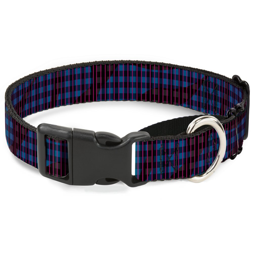 Buckle-Down Buffalo Plaid Abstract White Black Turquoise Martingale Dog Collar, 1  Wide-Fits 9-15  Neck-Small