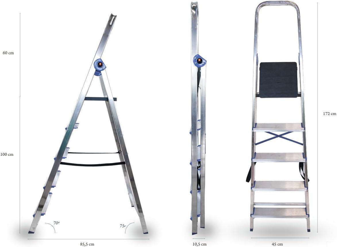 Arcama DN05 Escalera domestica, GRIS PLATA, 5 peldaños: Amazon.es: Bricolaje y herramientas