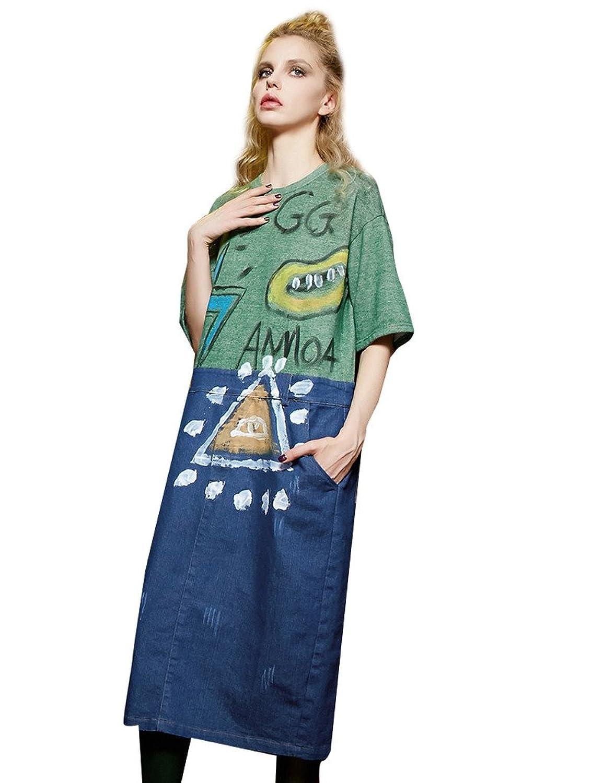 Elf Sack Womens Autumn Graffiti Print Spliced Jeans Midi Dress
