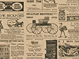 Tissue Paper for Gift Wrapping with Design (Vintage Newspaper) Black and Tan, 24 Large Sheets (20x30)