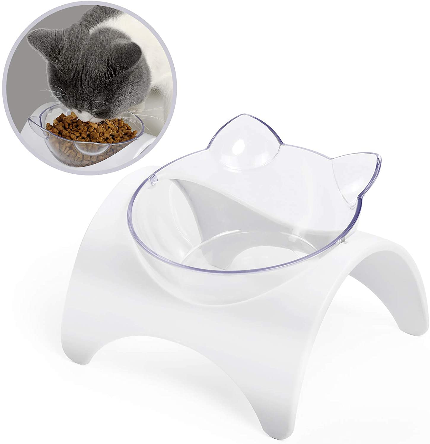 Cat Bowls, 15°Tilted Cat Food Bowls, Elevated Cat Bowl to Protect Cervical Spine from Vomiting, Suitable for Cats and Small Dogs