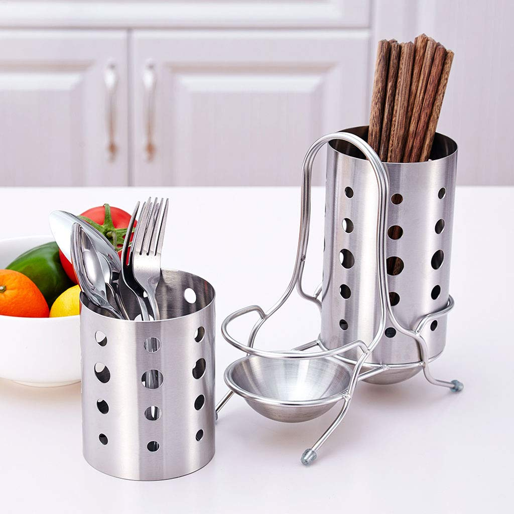 Kitchen Shelf, 304 Stainless Steel Knife Fork Chopsticks Double Tube Drain Rack Tableware Storage Cage by CFXZM (Image #6)