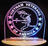 Vietnam Veterans of America with Map Acrylic Lighted Edge Lit LED Sign / Light Up Plaque