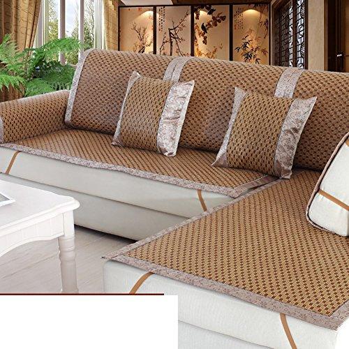 Summer Rattan Sofa Cushion European Cool Mat Sofa Towel Sofa Sets All-inclusive Towel Lace Bamboo Mat Sofa Towel-F 80x160cm(31x63inch) by KCHEDFBUOQIFGE