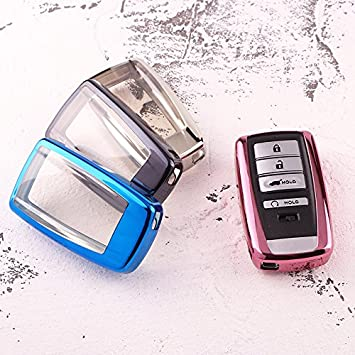 Blue QinLing Soft TPU case Cover for Acura Smart Key Chain fit 2017 2018 ILX TLX RLX RDX MDX TSX 2 3 4 5 Buttons Holder Bag