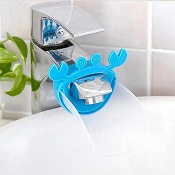 Bleu + Transparent Enfant Eau du Robinet Robinet Extender se Laver les Mains B/éb/é Robinet Extender Forme de Crabe