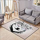 """Collection Area Rug,Alaskan Malamute,Vintage Polka Dots and Dog Wearing Floral Wreath and Sunglasses,Super Absorbs Mud,4'7""""x5'3"""" Rose Gold Black White"""