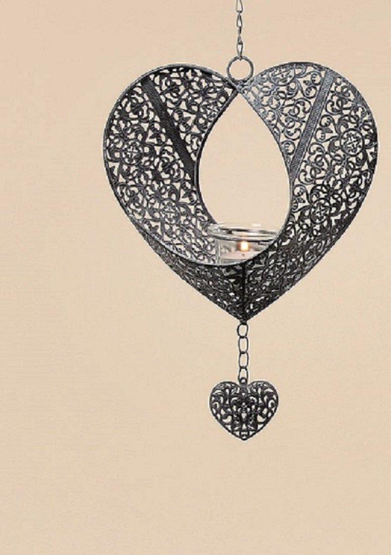 Portacandele da appendere Aurora a forma di cuore con gancio, H 30cm, L gancio 37cm Boltze