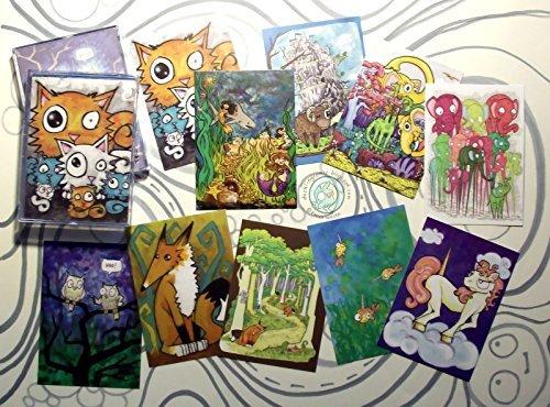 Cartoon ACEO Art Print Collection A set of 10 lowbrow animals fox dinosaur wizard narwhale mermaid elephant owl cat unicorn comic illustration