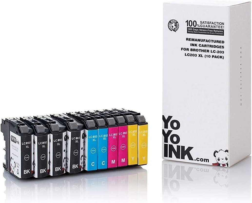 YoYoInk Compatible Printer Ink Cartridge Replacement for Brother LC-203 LC203 XL 203XL High Yield for J480DW MFCJ460DW (4 Black, 2 Cyan, 2 Magenta, 2 Yellow; 10 Pack)
