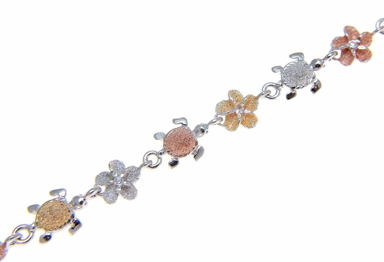 925 sterling silver tricolor rose yellow gold plated Hawaiian cz plumeria flower sea turtle honu anklet 9 1/2''