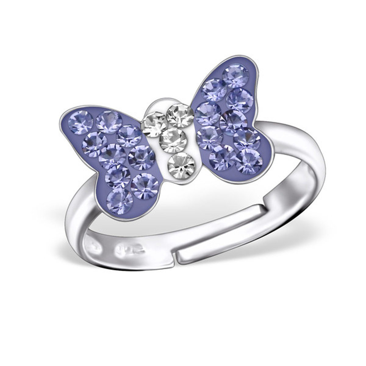 Crystal Butterfly Ring Size Adjustable 3-4 Girls Sterling Silver 925 (28180 Tanzanite)