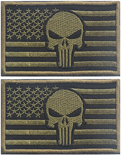 Cheapest Price! TACVASEN Punisher Skull USA American Flag Tactical Morale Patch with Velcro(Green)