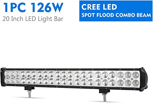Fieryred 20 Inch 126w Cree Led Light Bar Spot Flood Combo Work Light Led Bar Driving Fog Light With Mounting Bracket For Off Road Truck Car Atv Suv Jeep 1 Year Warranty