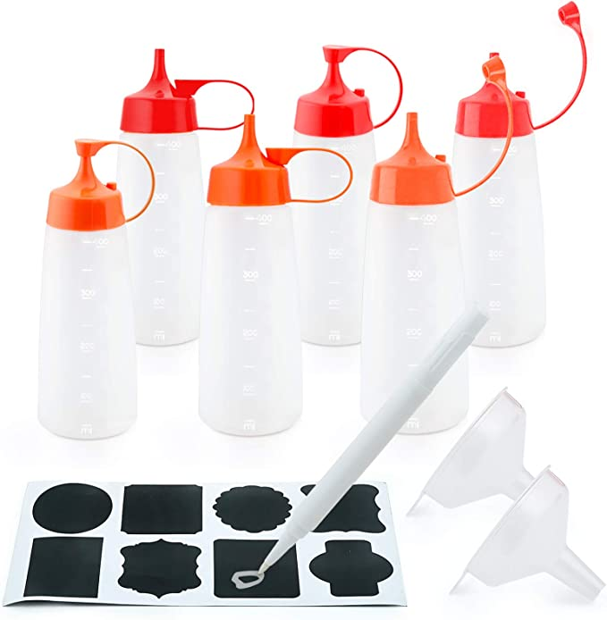 12 Pack 8 oz Plastic Squeeze Bottles Multipurpose Squirt Bottles for Ketchup,Barbecue,Sauces,Syrup,Dressings,Arts /& Crafts Provide chalkboard labels,Chalk Marker