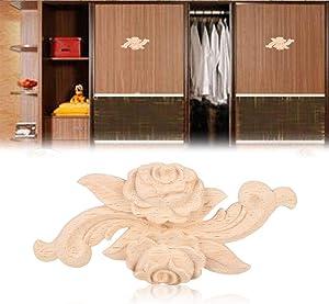Wood Applique Vintage Style Carved Flower Corner Onlay for Home Door Cabinet Unpainted Furniture Decor 4Pcs (2#)