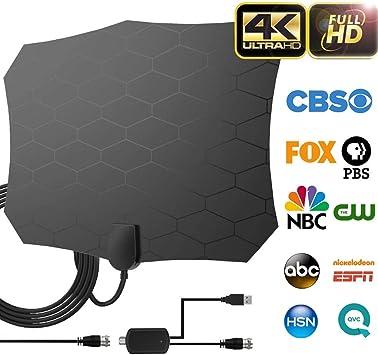 BangHaa 【】 Actualización 2019 Versión Profesional de la TV Antena-Indoor HDTV Potente Cubierta Digital HDTV Antenas Amplificado 80-100 Millas de Alcance 4K HD Amplificador de Señal: Amazon.es: Electrónica