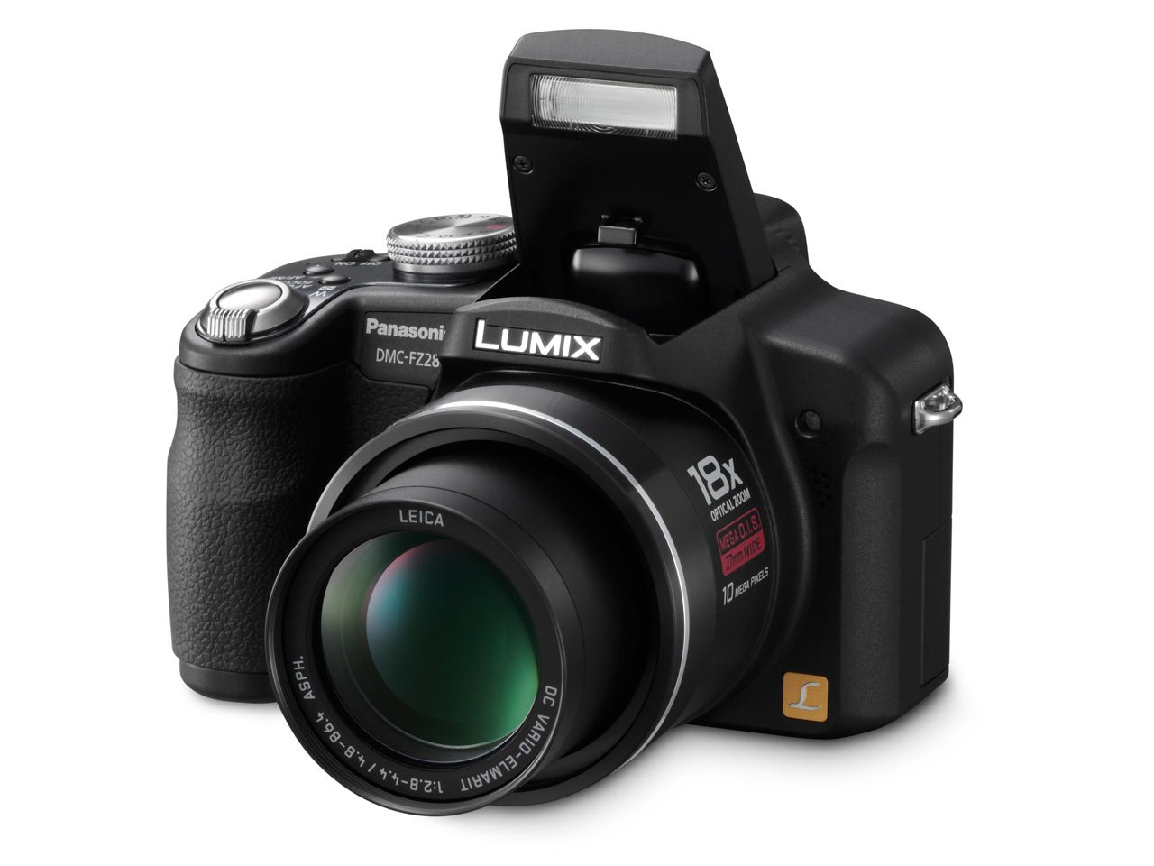 Panasonic Lumix DMC-FZ28K 10MP Digital Camera with 18x Wide Angle MEGA Optical Image Stabilized Zoom (Black)