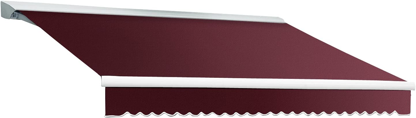 8 ft. Destin with Hood Right Motor Remote Retractable Awning 78 in. Projection Burgundy
