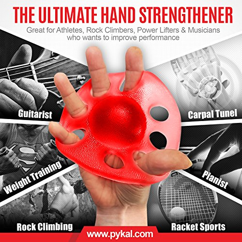 2x Hand Exerciser Finger Strengtheners 15+ VIDEO EXERCISES included with HAND POWER PRO | Finger Exerciser & Grip Strengthening For Arthritis, Carpal Tunnel, Computer Users, Rock Climbers by Pykal