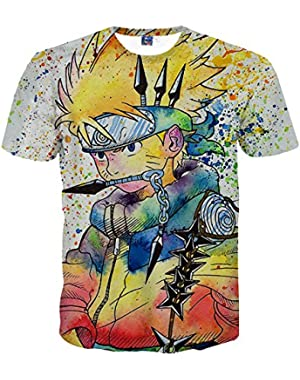 Unisex Men's Fashion Naruto Graphic T-Shirts 3D Printed Casual Anime Shirts Pattern Tees Men Women