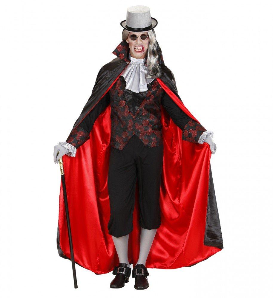 Shoperama Herren-Kostüm Vampir mit Brokatmuster Halloween GRAF Dracula Umhang Weste Jabot, Größe:L