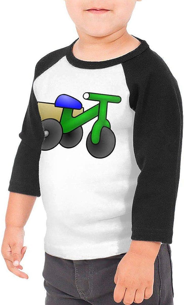 Kocvbng I Cartoon Tricycle Raglan 3//4 Sleeves Shirt for Girls Boys