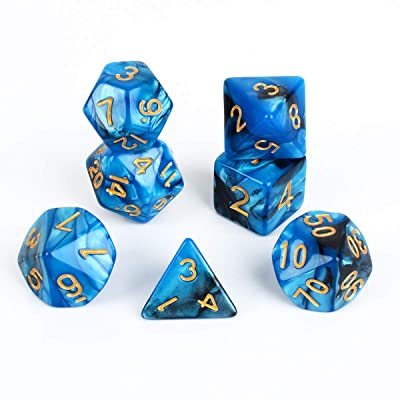 FLASHOWL Pearl D&D Dice Set RPG Dice Polyhedral Dice D20 Dice DND Dice , D12, D10, D8, D6, D4 DND RPG MTG Double Colors Game Dice DND Dice Sets 7 Set Dice for Table Gaming(7 Pieces Blue Black): Toys & Games