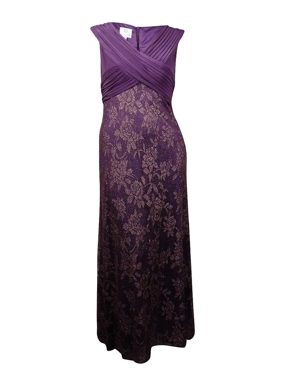 Patra Womens Metallic Lace Evening Dress Purple 14 At Amazon Womens