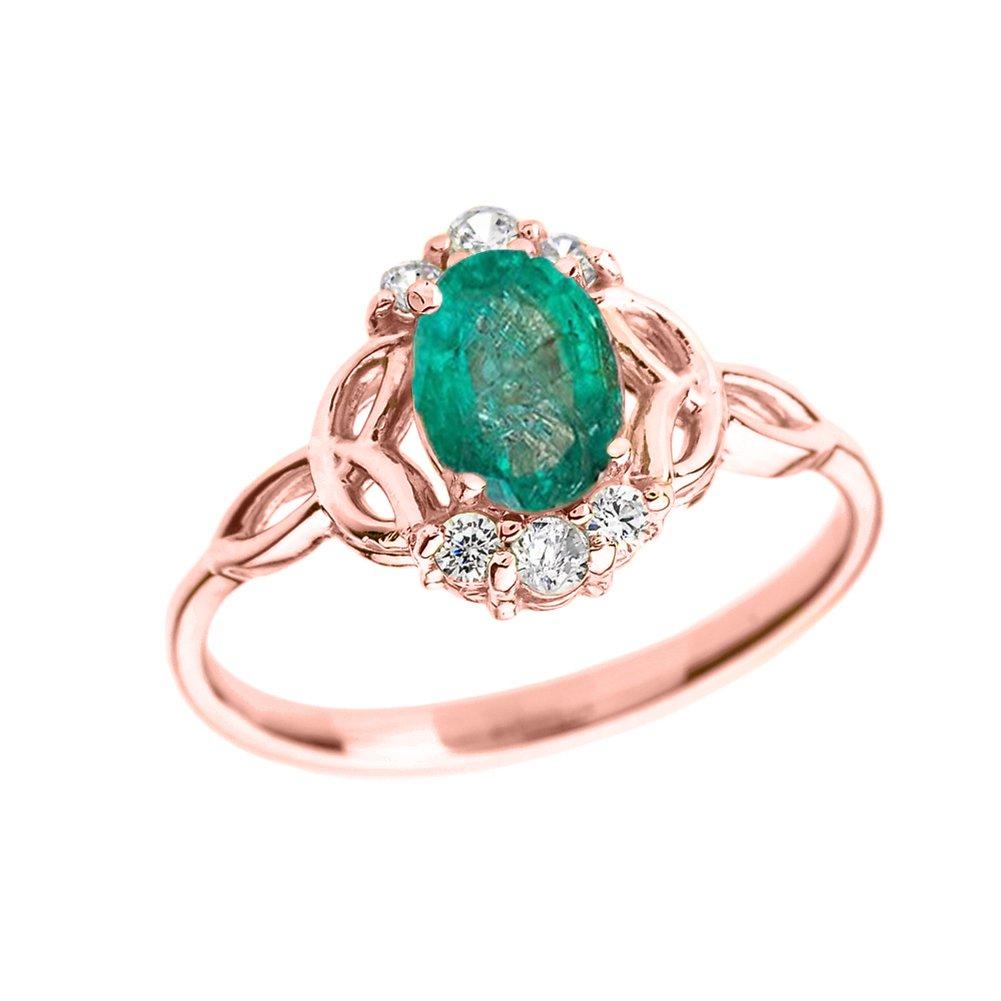 Elegant 14k Rose Gold Diamond Trinity Knot Proposal Ring with Genuine Emerald (Size 9)