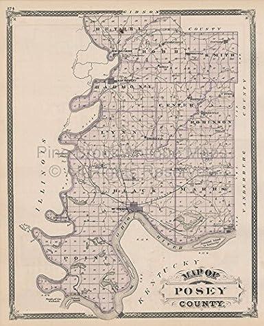 Amazon Com Posey County Patoka Indiana Vintage Map Baskin 1876